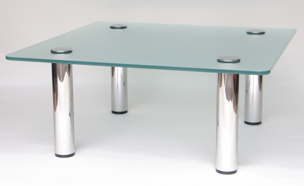 Azaria: rectangular brushed steel coffee table with frosted glass, PMF Designs