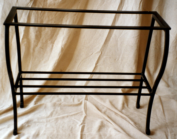 Shelved console: bespoke metal console table PMF Designs