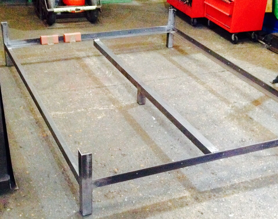 Kingsize bespoke bed commissioned by private client. Mild steel, unfinished