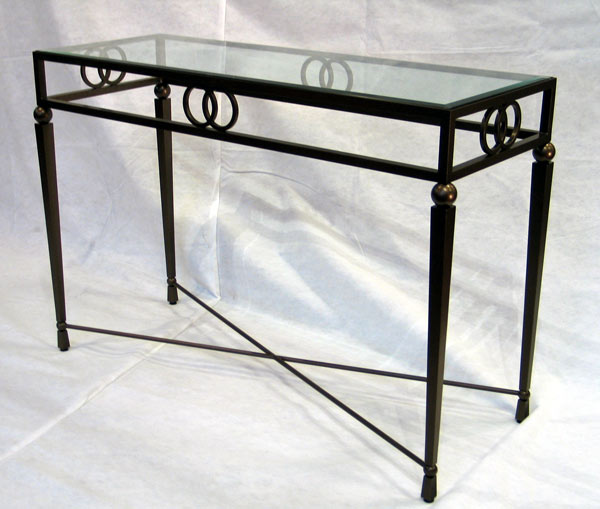 Sapphira Console: commissioned table in bronze finish