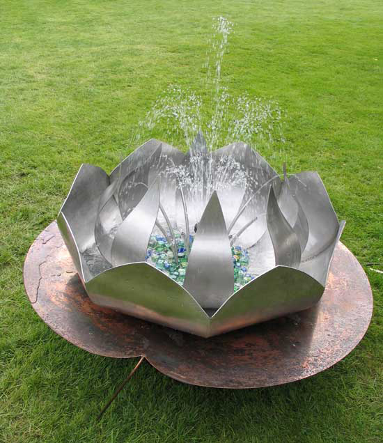 PMF Designs, lotus                         flower water feature