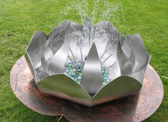 Stainless                     steel & copper Lotus Flower water Feature: click                     for details and larger image